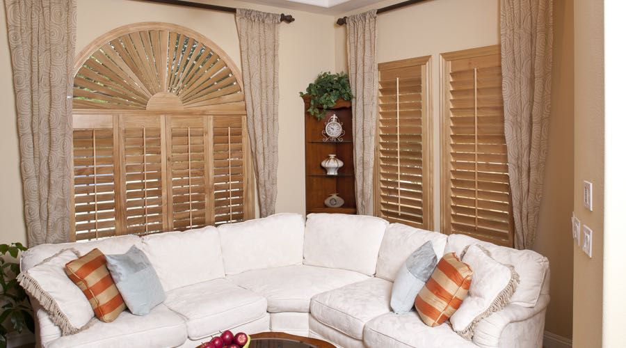 Arched Ovation Wood Shutters In San Jose Living Room