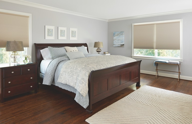 Beige shades in a San Jose bedroom.
