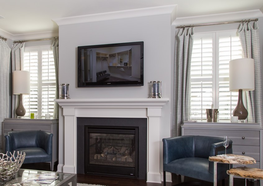 living room San Jose faux wood shutters