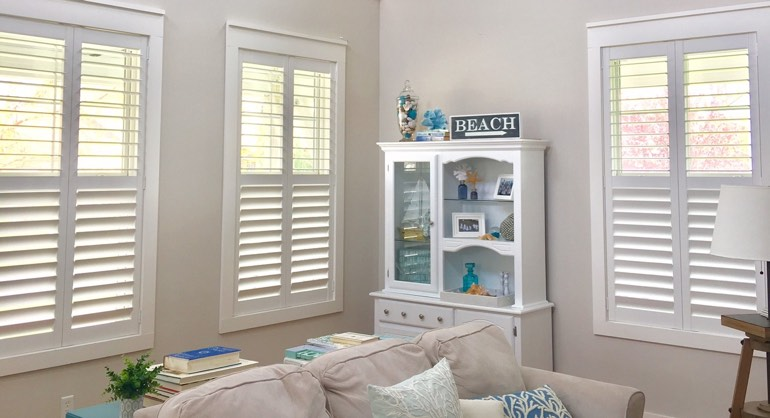 San Jose California shutters in living room
