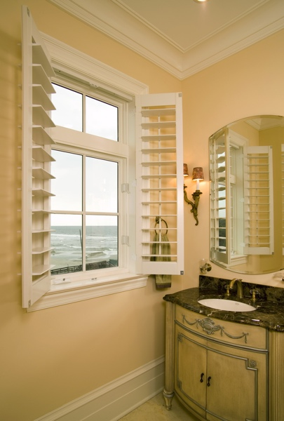 Plantation shutters in San Jose beach home
