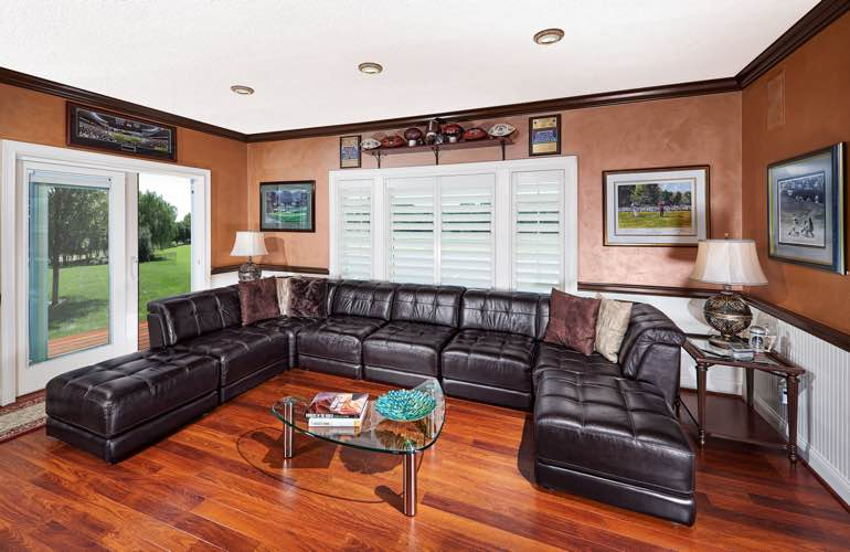 San Jose basement with sliding doors and plantation shutters.