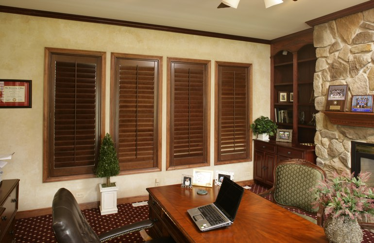 Hardwood plantation shutters in a San Jose home office