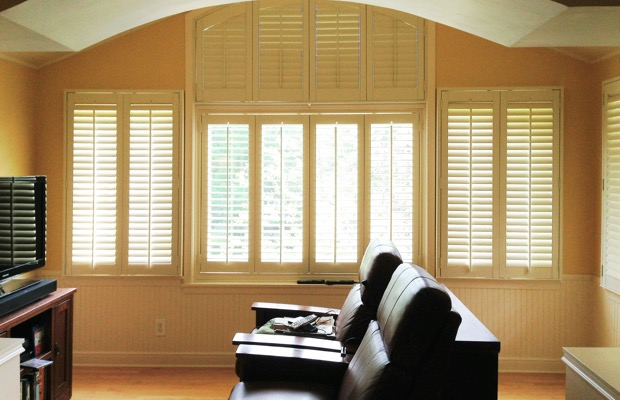 San Jose plantation shutters in entertainment room