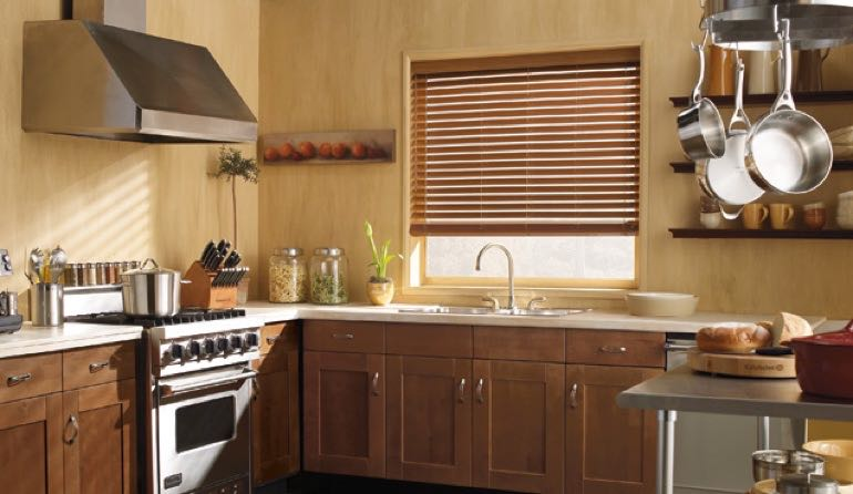California faux wood blinds kitchen