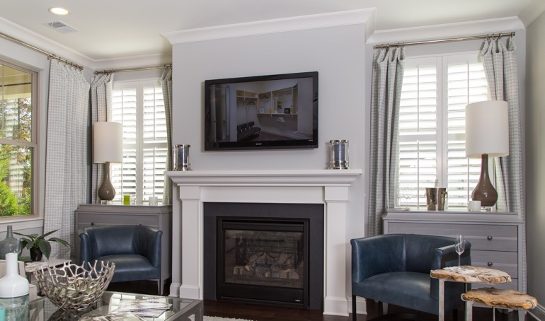 San Jose mantle with plantation shutters.