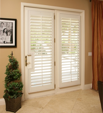 The best window treatments in san jose for back doors for Should plantation shutters match trim