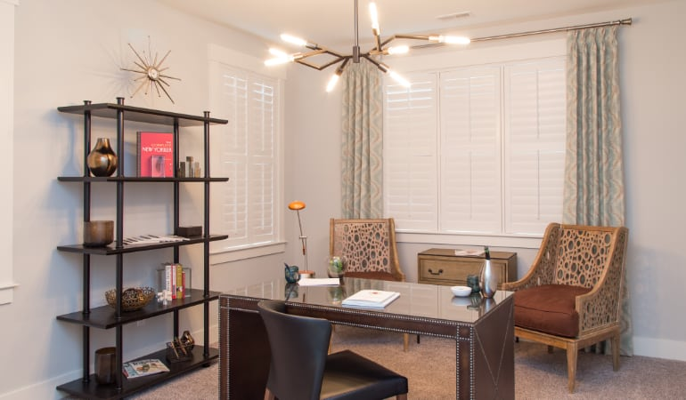 San Jose home office with plantation shutters.