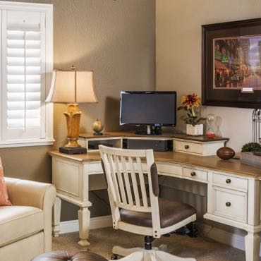 San Jose home office plantation shutters.