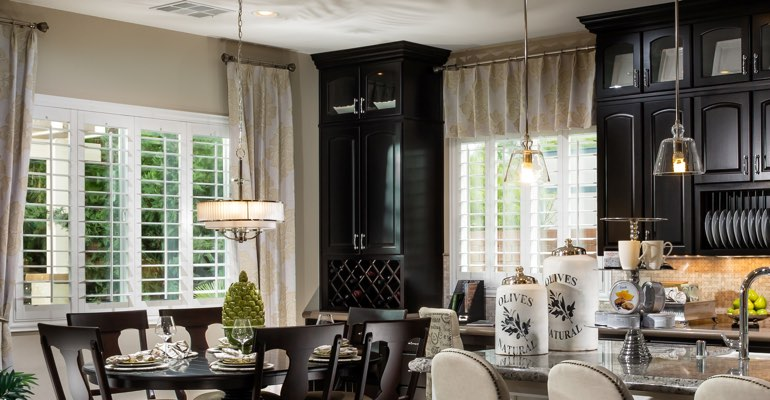 San Jose kitchen dining room with plantation shutters.
