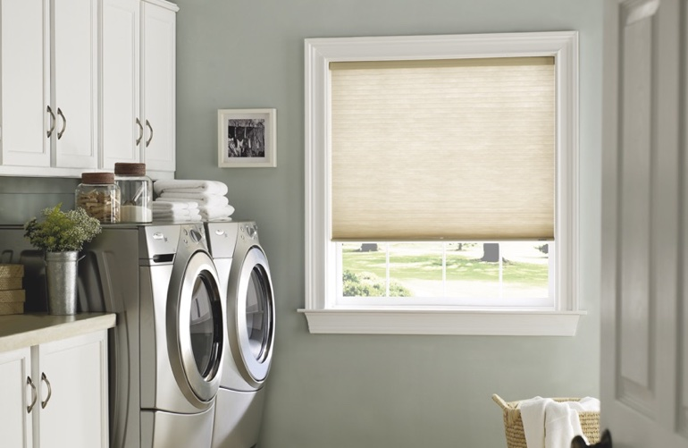 San Jose laundry room with beige window shades.