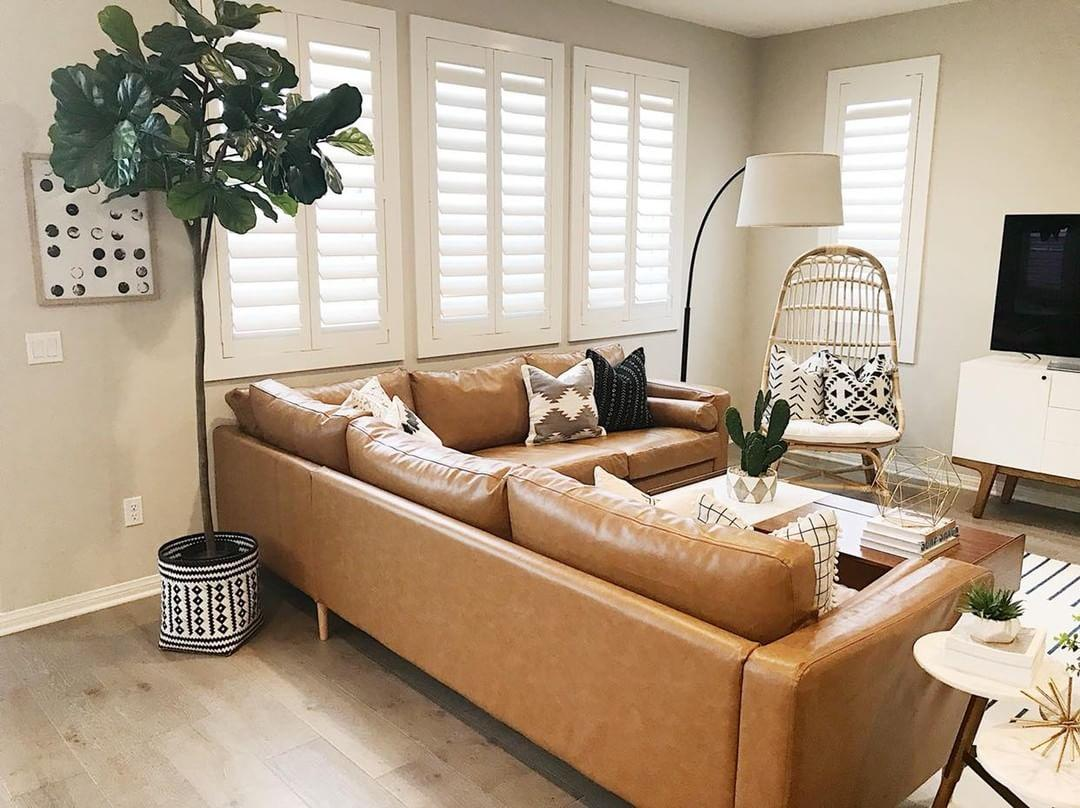 Comfortable living room with our Polywood shutters in San Jose.
