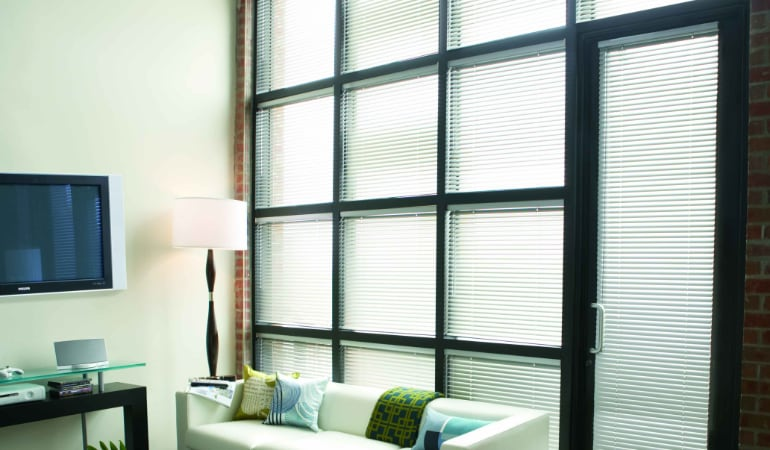 Metal Blinds in a living room.