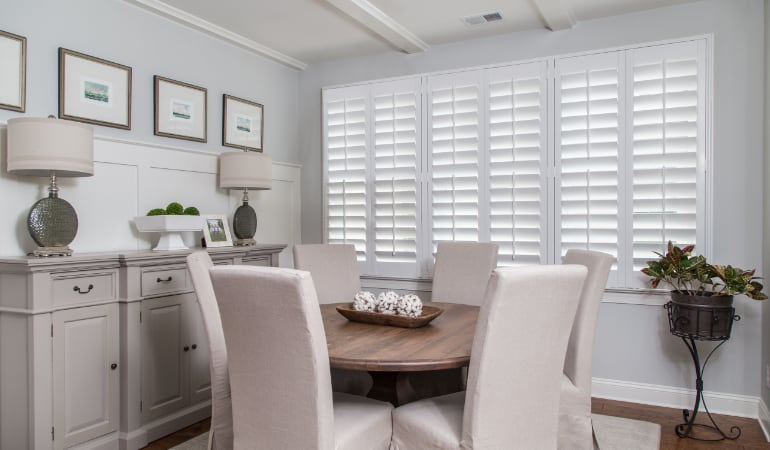 Plantation shutters in a San Jose dining room.