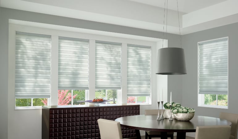 Cellular shades in a San Jose dining room.