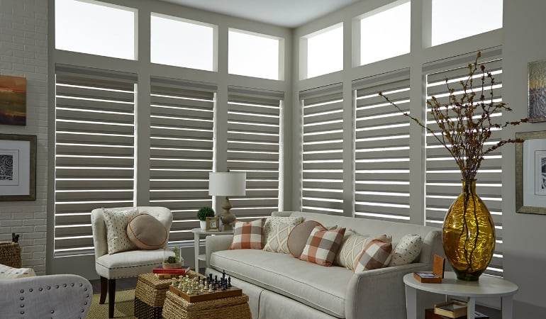 Motorized shades in a San Jose living room.