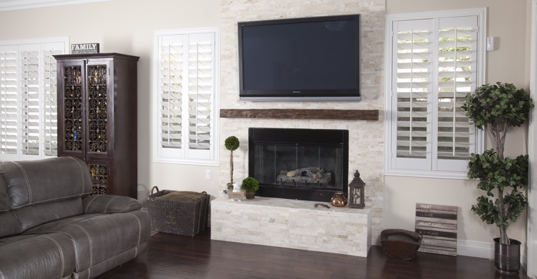 white shutters in San Jose living room