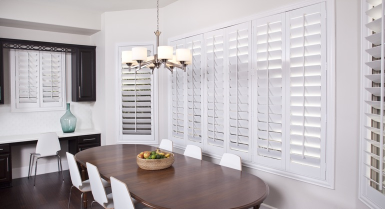 classic shutters in San Jose kitchen