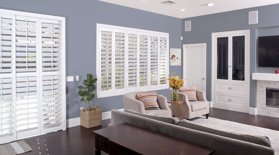 Faux Wood Shutters In blue San Jose Living Room