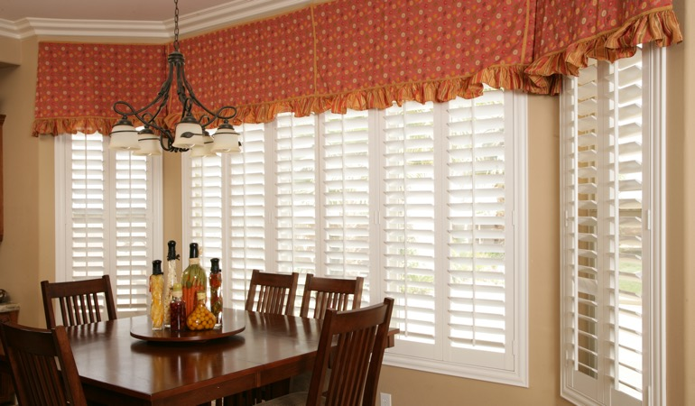 Plantation shutters in San Jose dining room.