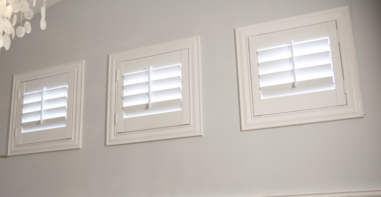 Shutters on small windows in laundry room