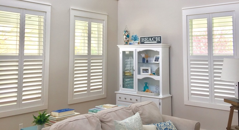 plantation shutters in San Jose sunroom