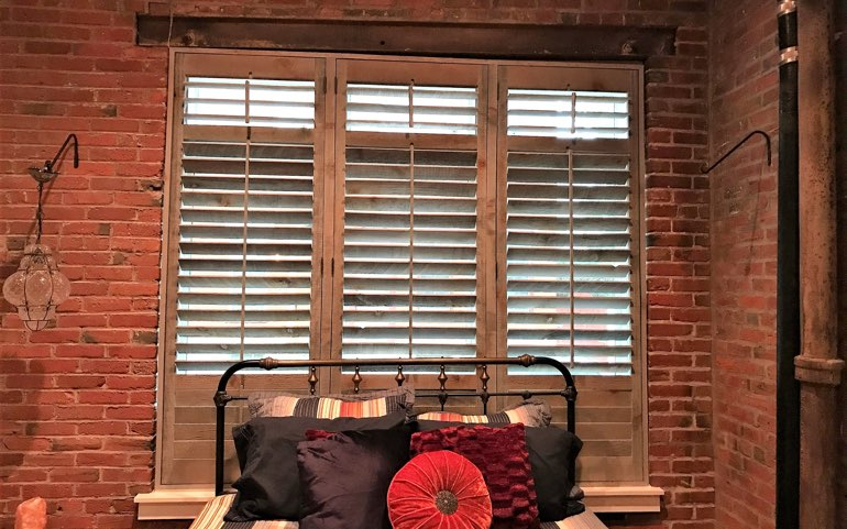 reclaimed wood shutters in San Jose bedroom