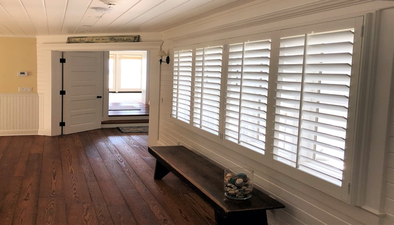 Faux wood plantation shutters in San Jose
