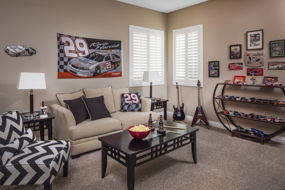San Jose man cave with shutters