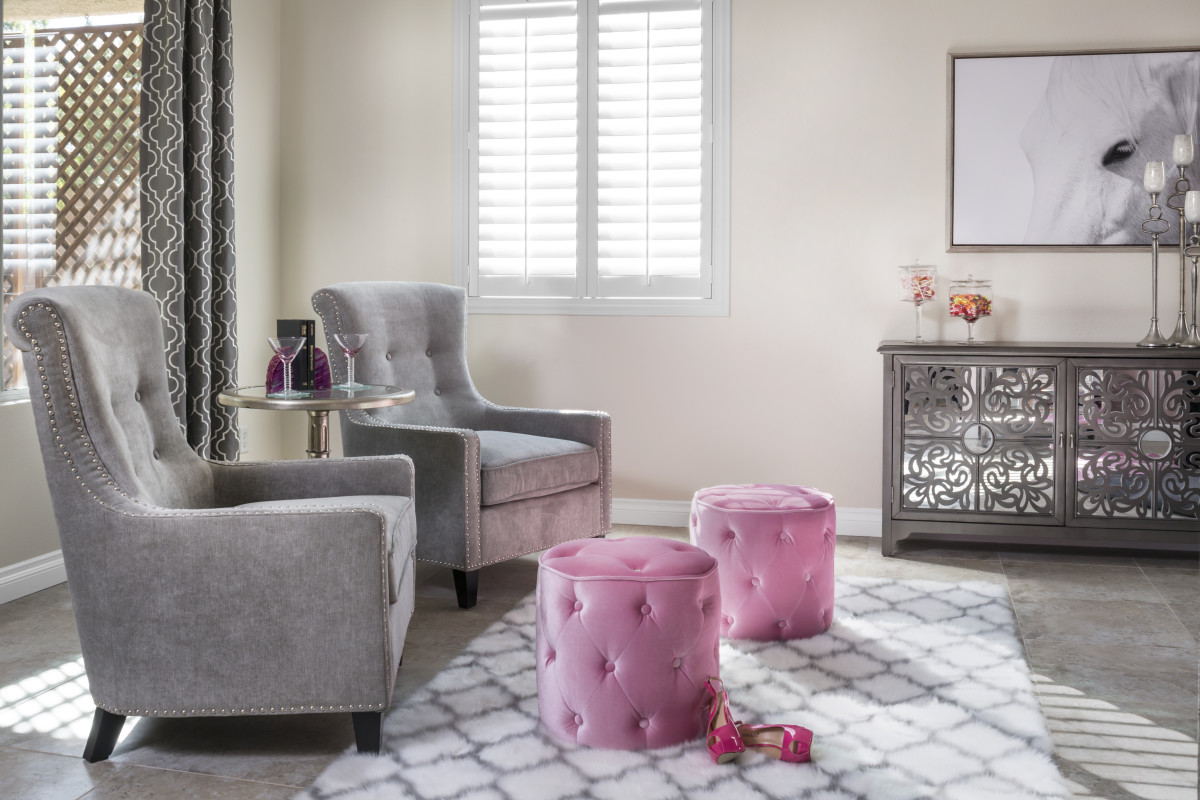 San Jose pink living room with shutters