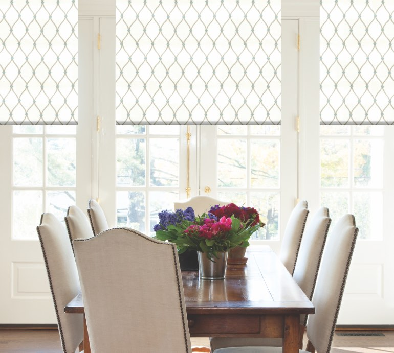 Shades in dining room with flowers