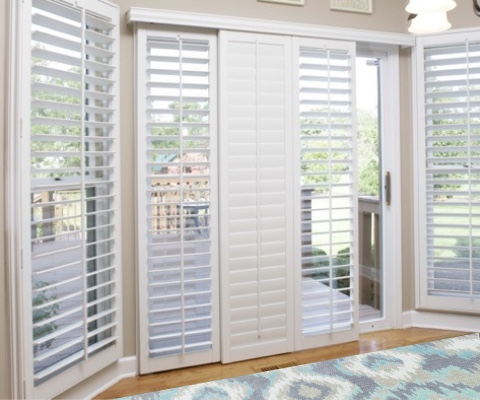 [Polywood|Plantation|Interior ]211] shutters on a sliding glass door in San Jose