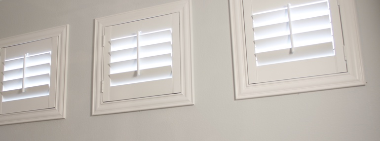Small Windows in a San Jose Garage with Plantation Shutters