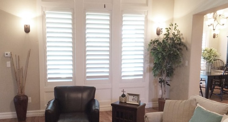 San Jose living room white shutters