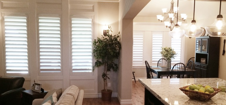 San Jose shutters in dining room and living room