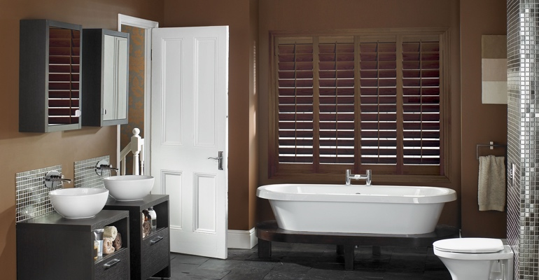 San Jose bathroom shutters wood stain