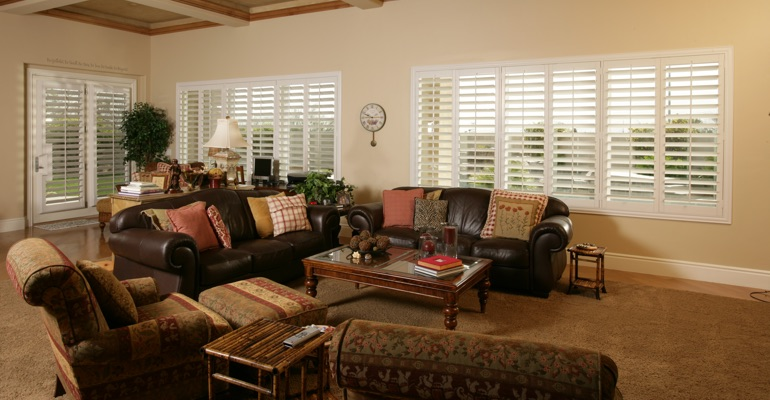 San Jose basement with french door shutters.