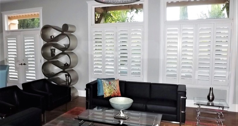 San Jose DIY shutters in living room.