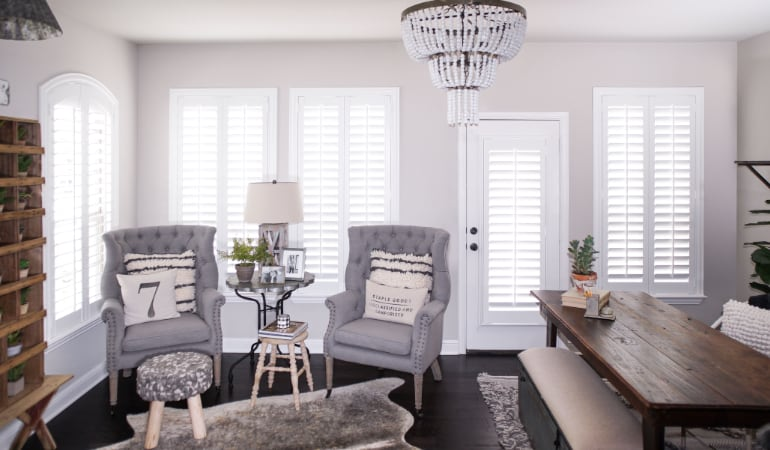 Plantation shutters in a San Jose living room