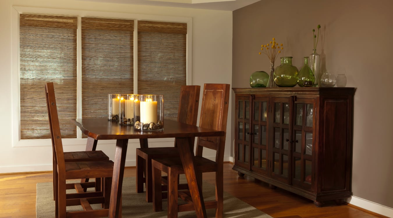 Woven shutters in a San Jose dining room.