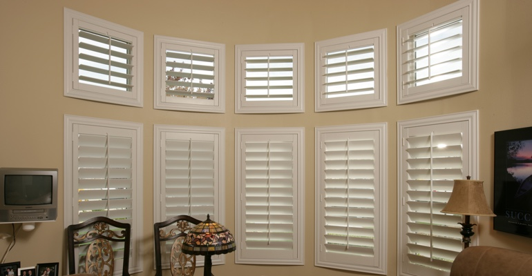 Bay window shutters San Jose home office