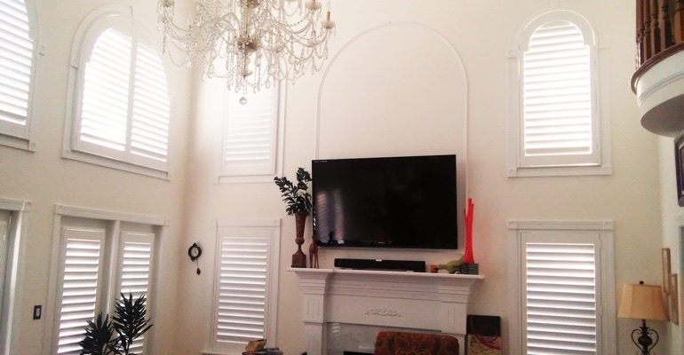 high ceiling windows with shutters San Jose great room