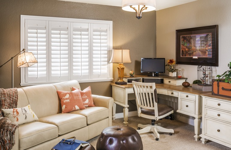San Jose home office with plantation window shutters.