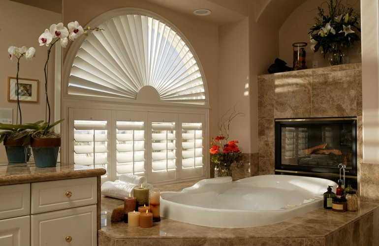 Our Specialists Installed Shutters On A Sunburst Arch Window In San Jose, CA