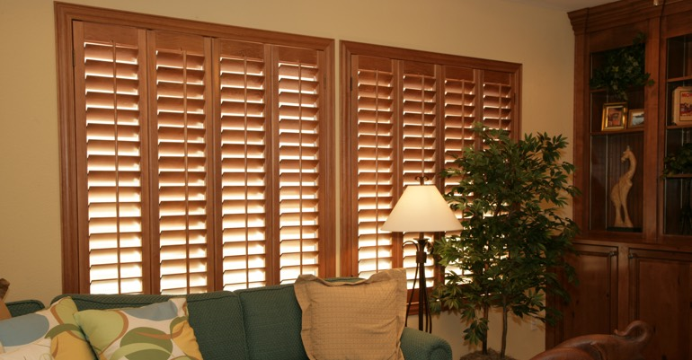 Hardwood shutters in San Jose living room.