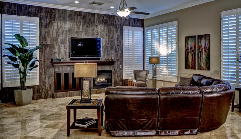Plantation Shutters In A San Jose Living Room.