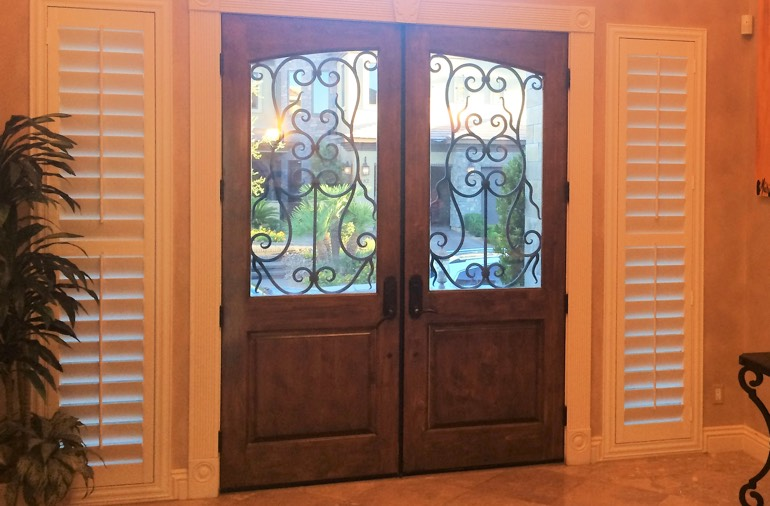 Sidelight window shutters in San Jose house