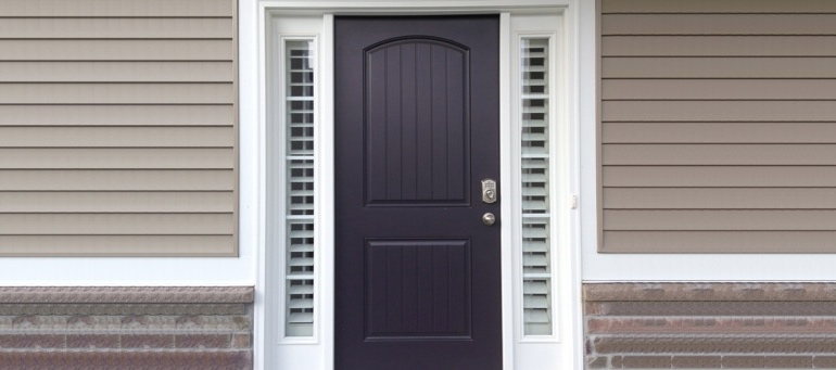 Entry Door Sidelight Shutters Next To Black Door In San Jose, CA