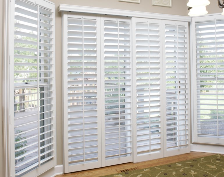 Sliding glass door with plantation shutters San Jose